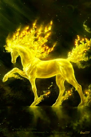 Анимация Сказочный конь с огненной гривой, brus777