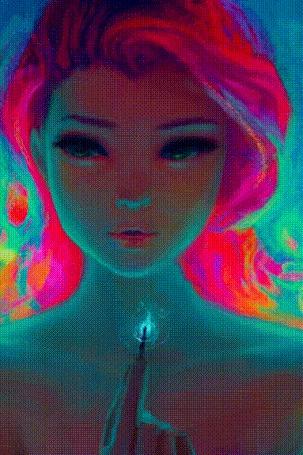 Анимация Девушка машет головой, моргает и держит в руке зажженную спичку, by DestinyBlue