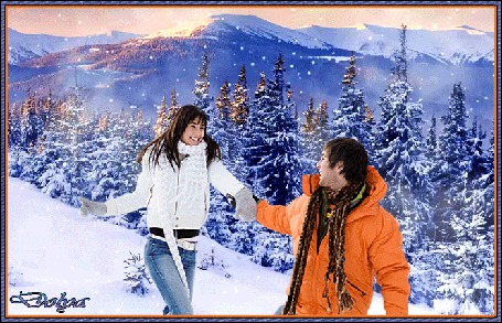 Анимация На фоне зимних гор и леса мужчина ведет за руку девушку
