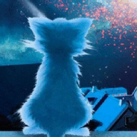 Анимация Синий котенок смотрит на блестяшки (© zlaya), добавлено: 07.12.2015 12:32