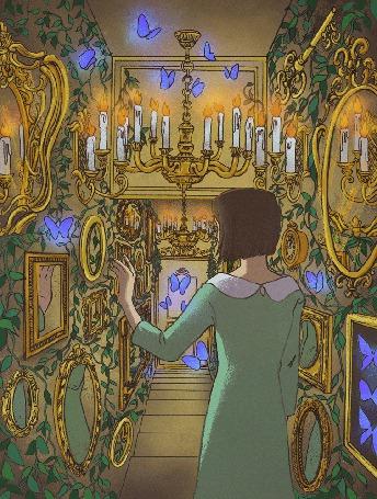 Анимация Девушка в коридоре полном зеркал и бабочек (© Krista Zarubin), добавлено: 08.12.2015 11:39