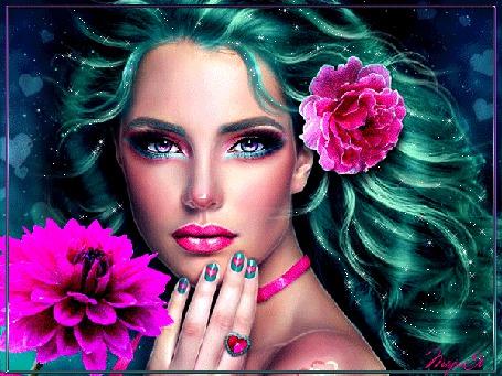 Анимация Красивая девушка с цветами, автор ТориЯ