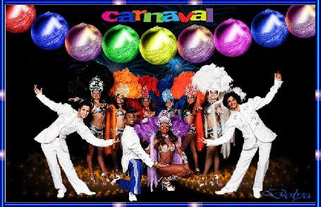 Анимация Люди на новогоднем карнавале, вверху елочные украшения и салют / carnaval/ (карнавал) (© ДОЛЬКА), добавлено: 09.12.2015 16:45