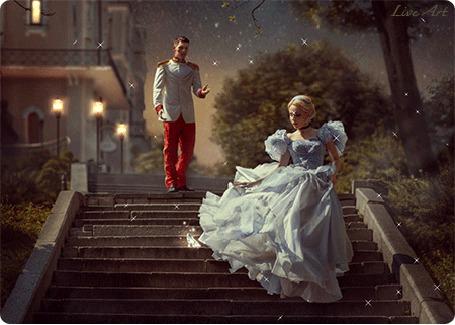 Анимация Принц смотрит вслед убегающей по лестнице Золушке, потерявшей туфельку, by LiveArt
