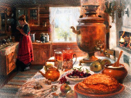 Анимация Женщина лакомится на кухне, кот просит угостить и его, горит огонь в печи, накрыт стол для чаепития, исходник художник Владимир Юрьевич Жданов