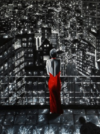 Анимация Девушка в красном платье, смотрит на сияющий огнями ночной город с балкона