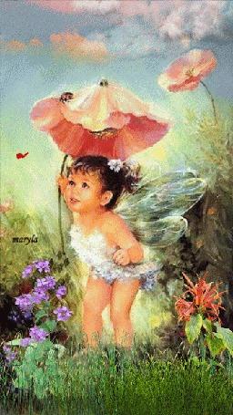 Анимация Девочка с крылышками стоит под красным цветком мака, maryfa