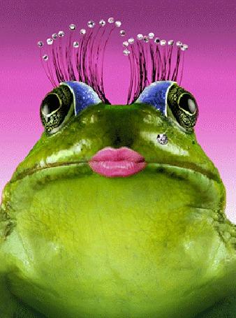 Анимация Лягушка - царевна подмигивает