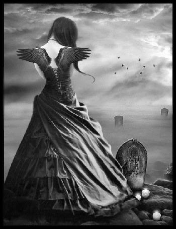 Анимация Грустный ангел смотрит на могилу (© zlaya), добавлено: 12.12.2015 23:55