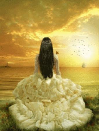 Анимация Девушка в красивом платье смотрит на море