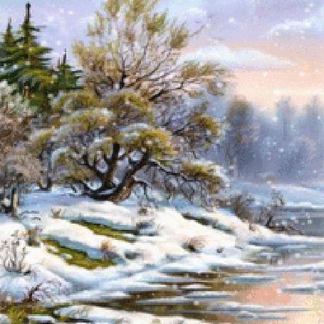 Анимация Весна в лесу, последний падающий снег