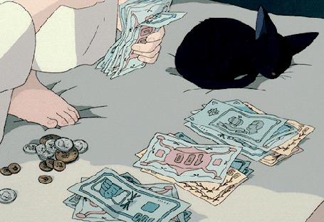 Анимация Человек считает деньги, а за этим процессом подсматривает черный котенок