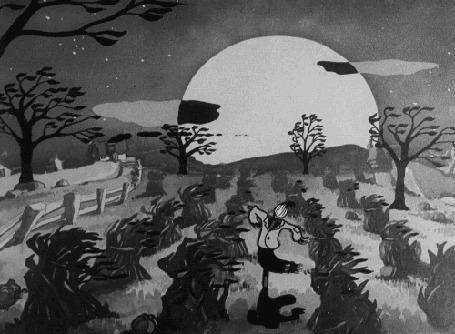Анимация Черные коты летают на Хеллоуин над соломенным Джеком