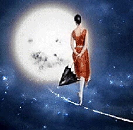 Анимация Девушка с зонтом в красном платье стоит на канате, покачиваясь, на фоне звезд и полной луны