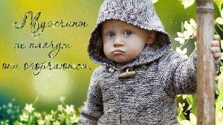 Анимация Серьезный мальчик стоит на фоне летящих белых цветов, держась за стебель бамбука, (Мужчины не плачут, они огорчаются), автор pasiqut