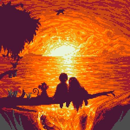 Анимация Влюбленные и обезьянка сидят над водопадом и любуются закатом, by HealTheIll