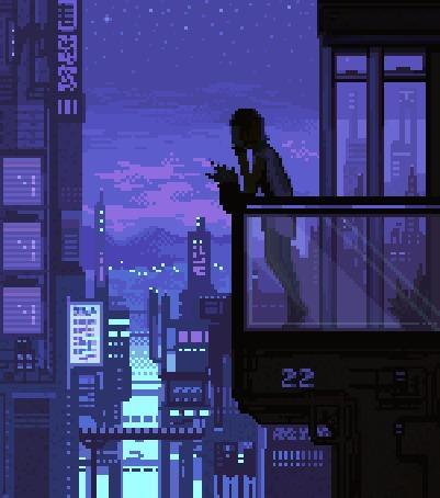Анимация Девушка стоит на балконе на фоне ночного города, by pixelMewr (© zmeiy), добавлено: 18.12.2015 14:51