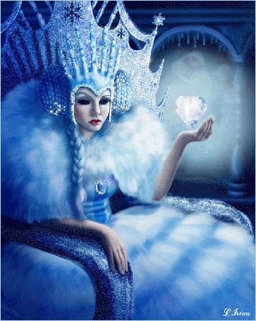 Анимация Снежная Королева держит в руке ледяное сердце, L. Irina (© Natalika), добавлено: 19.12.2015 09:19