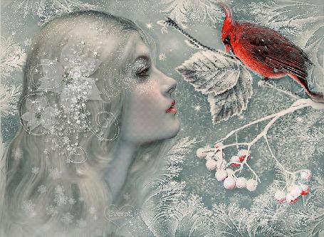 Анимация Девушка с серебряным цветком в волосах смотрит на красную птицу на ветке, SVeraS