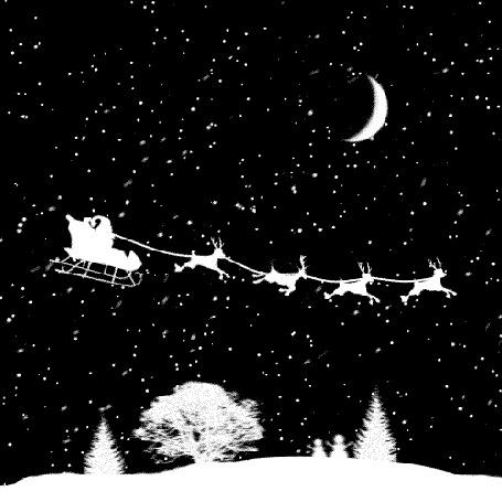 Анимация Санта Клаус с оленями пролетает над деревьями (© Krista Zarubin), добавлено: 19.12.2015 12:05
