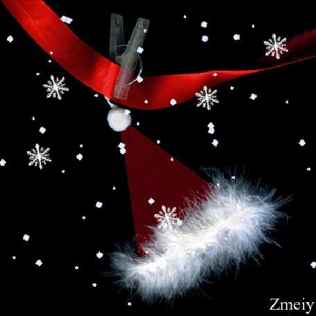 Анимация Новогодний колпак висит на красной ленточке под снегопадом, Zmeiy (© zmeiy), добавлено: 19.12.2015 15:58