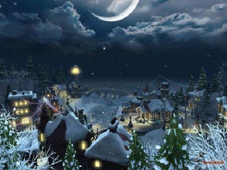 Анимация Санта на упряжке с оленями несется в небе над сонным городком (С Новым Годом!)