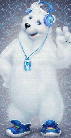 Анимация Веселый белый медведь в кроссовках, пританцовывает слушая музыку с плеера через наушники, поднял вверх переднюю лапу с двумя пальцами в приветствии