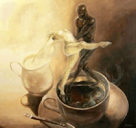 Анимация Парень и девушка в образах кофе и молока погружаются в чашку на блюдце