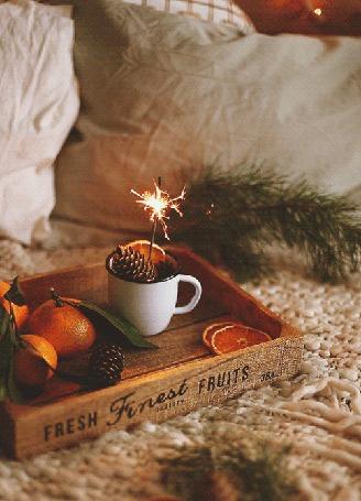 Анимация Бенгальский огонь в кружке с шишками и апельсинами, рядом, на стоящем на кровати подносе, мандарины