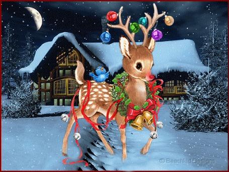 Анимация Олененок, украшенный елочными игрушками и рождественским венком в зимнем лесу (© Anatol), добавлено: 24.12.2015 00:23