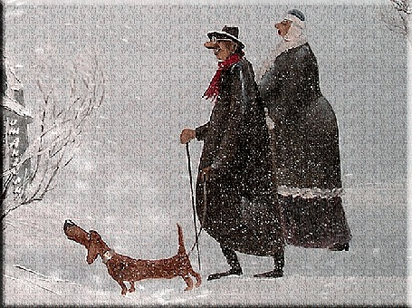 Анимация Мужчина, женщина и собака такса не боятся прогуливаться в метелицу, от Ангела