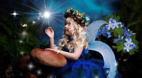 Анимация Девочка в веночке из цветов сидит возле огромных грибов, подняла руку к летающей перед ней бабочке и к появляющимся сердечкам, AnnaZe