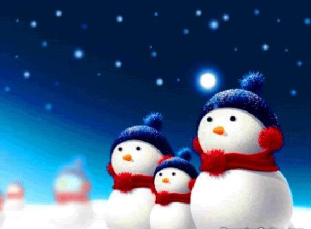 Анимация Снеговики под звездным небом
