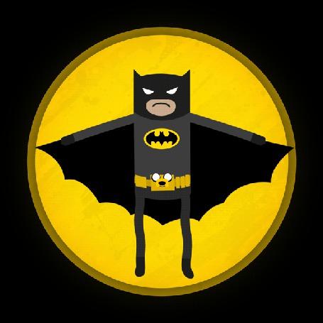 Анимация Финн / Finn в костюме Бэтмена и Джейк пес / Jake the Dog из мультсериала Время Приключений / Adventure Time (I AM THE NIGHT!) ), by Blue-Staple-Studios