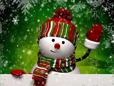 Анимация Снеговик в шапочке, шарфе и рукавичках, приветливо машет рукой, Natalia NZ