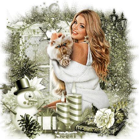 Анимация Красивая девушка с котом на руках на фоне падающего снега