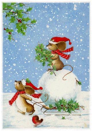 Анимация Мышка везет на санках снежный ком, на котором сидит вторая мышка