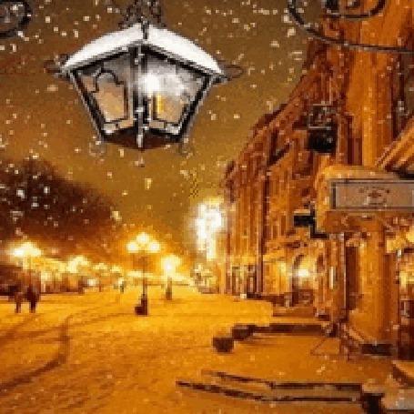 Анимация Фонарь на зимней ночной улице (© zlaya), добавлено: 30.12.2015 16:30