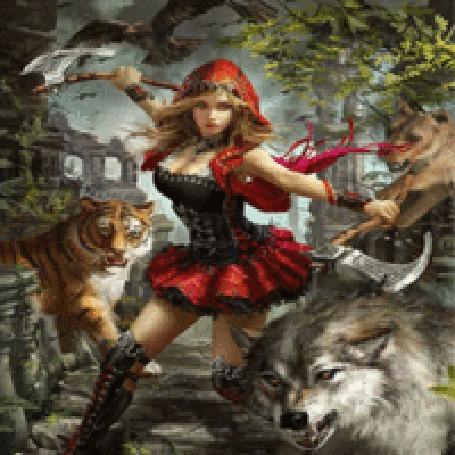 Анимация Девушка-повелительница зверей, вооруженная боевыми топорами, готова к атаке, арт по игре Legend Of The Cryptids