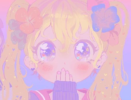 Анимация Милая светловолосая девушка с цветами в волосах