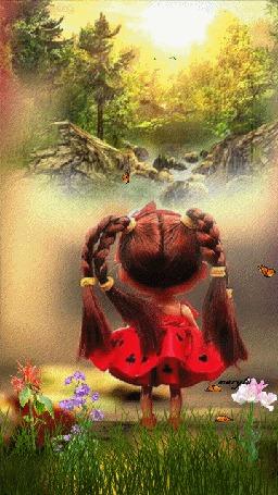 Анимация Девочка смотрит на летящих вдалеке птиц, by maryla