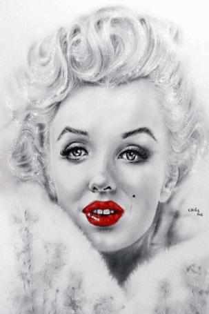 Анимация Мерилин Монро с блестящими волосами