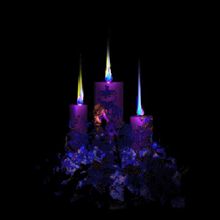Анимация Три горящие свечи