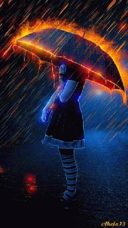 Анимация Девочка укрывается под зонтом от огненного дождя, by Akela73