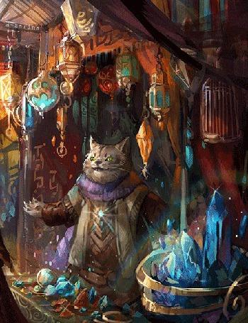 Анимация Кот-волшебник среди магических предметов