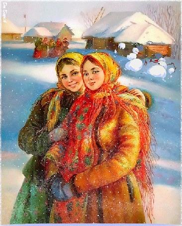Анимация Девушки в зимних одеждах с национальным русским колоритом, гуляют на занесенной снегом улице, вдали два снеговика играют в снежки
