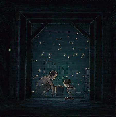 Анимация Папа и сын смотрят на вылетающих светлячков, аниме из Hotaru No Haka / Могила светлячков
