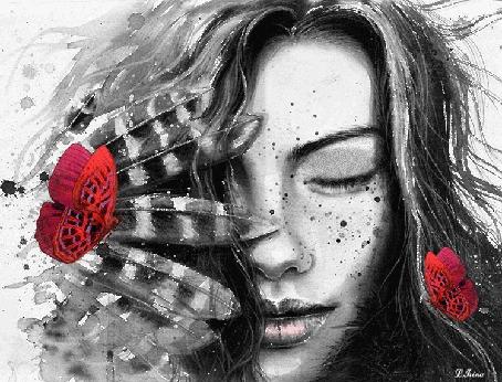 Анимация Девушка и красные бабочки, by Lina