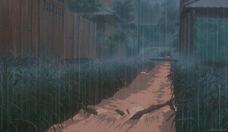 Анимация Обильно идущий дождь