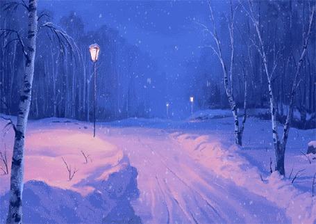 Анимация Дорога вдоль леса запорошенная снегом (© Arinka jini), добавлено: 14.01.2016 13:46